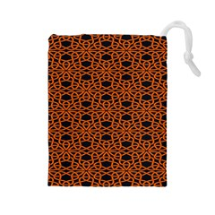 Triangle Knot Orange And Black Fabric Drawstring Pouches (Large)