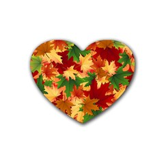 Autumn Leaves Rubber Coaster (Heart)