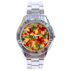 Autumn Leaves Stainless Steel Analogue Watch