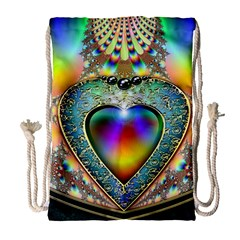 Rainbow Fractal Drawstring Bag (Large)