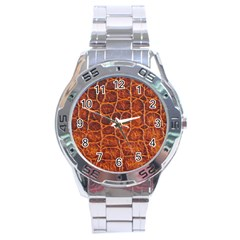 Crocodile Skin Texture Stainless Steel Analogue Watch