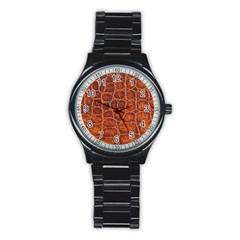 Crocodile Skin Texture Stainless Steel Round Watch