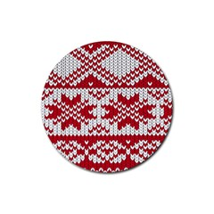 Crimson Knitting Pattern Background Vector Rubber Round Coaster (4 pack)