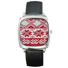 Crimson Knitting Pattern Background Vector Square Metal Watch