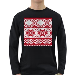 Crimson Knitting Pattern Background Vector Long Sleeve Dark T-Shirts