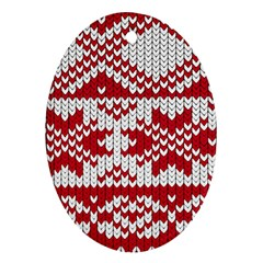 Crimson Knitting Pattern Background Vector Oval Ornament (Two Sides)