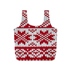 Crimson Knitting Pattern Background Vector Full Print Recycle Bags (S)