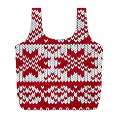 Crimson Knitting Pattern Background Vector Full Print Recycle Bags (L)