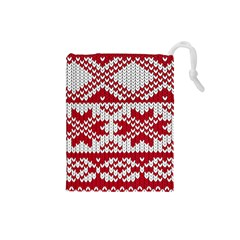 Crimson Knitting Pattern Background Vector Drawstring Pouches (Small)