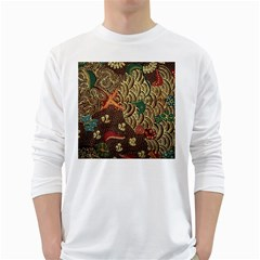 Art Traditional Flower Batik Pattern White Long Sleeve T-Shirts