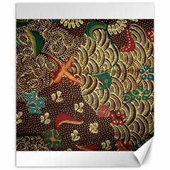 Art Traditional Flower Batik Pattern Canvas 8  x 10
