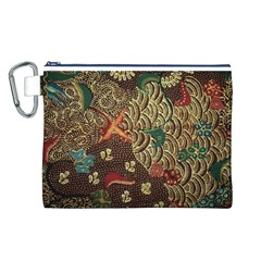 Art Traditional Flower Batik Pattern Canvas Cosmetic Bag (L)