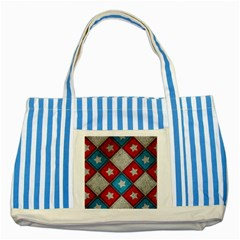 Star Color Striped Blue Tote Bag