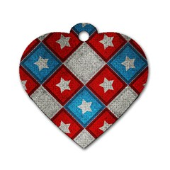 Star Color Dog Tag Heart (One Side)