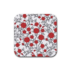 Texture Roses Flowers Rubber Square Coaster (4 pack)