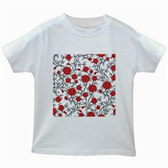 Texture Roses Flowers Kids White T-Shirts