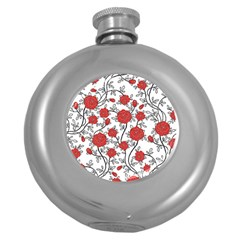 Texture Roses Flowers Round Hip Flask (5 oz)