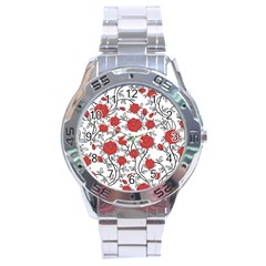 Texture Roses Flowers Stainless Steel Analogue Watch