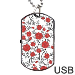 Texture Roses Flowers Dog Tag USB Flash (One Side)