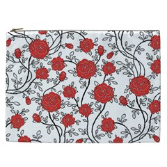 Texture Roses Flowers Cosmetic Bag (XXL)