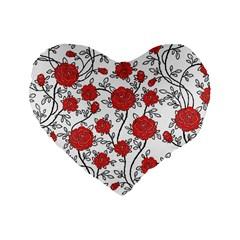 Texture Roses Flowers Standard 16  Premium Heart Shape Cushions