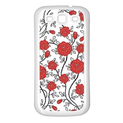 Texture Roses Flowers Samsung Galaxy S3 Back Case (White)