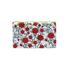 Texture Roses Flowers Cosmetic Bag (XS)