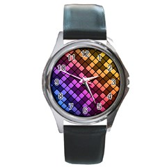 Abstract Small Block Pattern Round Metal Watch