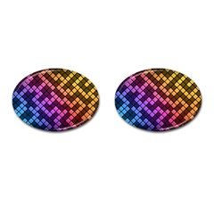 Abstract Small Block Pattern Cufflinks (Oval)