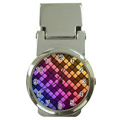 Abstract Small Block Pattern Money Clip Watches