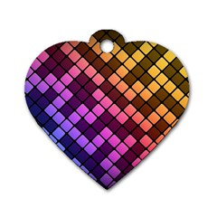 Abstract Small Block Pattern Dog Tag Heart (One Side)
