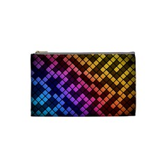 Abstract Small Block Pattern Cosmetic Bag (Small)