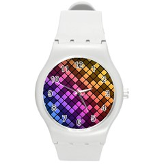 Abstract Small Block Pattern Round Plastic Sport Watch (M)