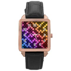 Abstract Small Block Pattern Rose Gold Leather Watch