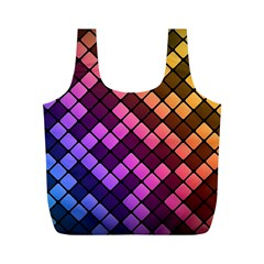 Abstract Small Block Pattern Full Print Recycle Bags (M)