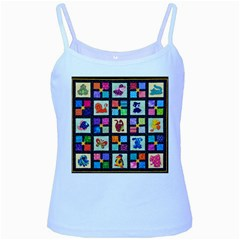 Animal Party Pattern Baby Blue Spaghetti Tank