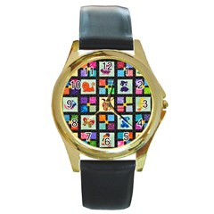 Animal Party Pattern Round Gold Metal Watch