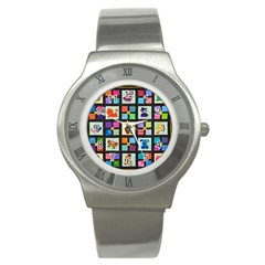 Animal Party Pattern Stainless Steel Watch