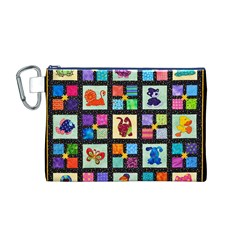 Animal Party Pattern Canvas Cosmetic Bag (M)