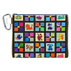 Animal Party Pattern Canvas Cosmetic Bag (XXL)
