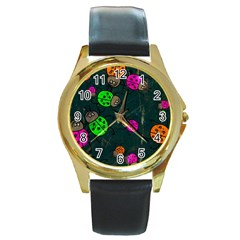 Abstract Bug Insect Pattern Round Gold Metal Watch