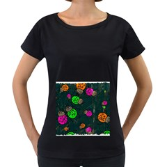 Abstract Bug Insect Pattern Women s Loose-Fit T-Shirt (Black)