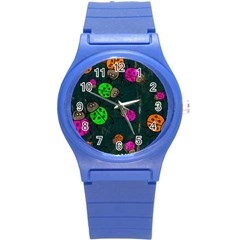 Abstract Bug Insect Pattern Round Plastic Sport Watch (S)