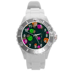 Abstract Bug Insect Pattern Round Plastic Sport Watch (L)