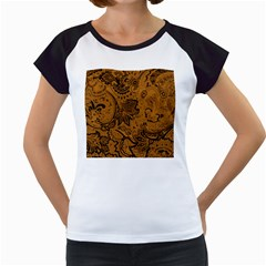 Art Traditional Batik Flower Pattern Women s Cap Sleeve T