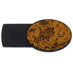 Art Traditional Batik Flower Pattern USB Flash Drive Oval (1 GB)