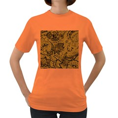 Art Traditional Batik Flower Pattern Women s Dark T-Shirt