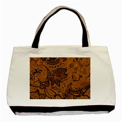 Art Traditional Batik Flower Pattern Basic Tote Bag