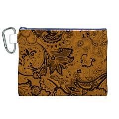 Art Traditional Batik Flower Pattern Canvas Cosmetic Bag (XL)