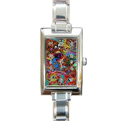 Art Color Dark Detail Monsters Psychedelic Rectangle Italian Charm Watch